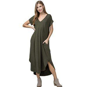 Entro Short Sleeve V-Neck OLIVE Knit Maxi Dress